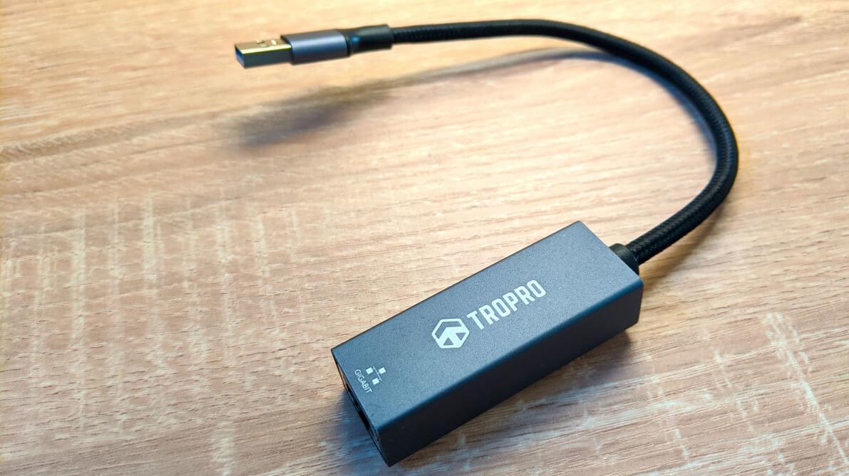 【TROPRO 有線LANアダプタ レビュー】LANポート無しでもOK!最大1Gbps対応の外付け有線LANアダプタ!